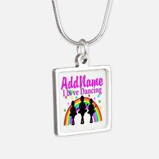 DANCING STARS Silver Square Necklace Calling all Dancers! Enjoy our beautiful selection of Dancer and Ballerina personalized jewelry.  http://www.cafepress.com/sportsstar/10423569 #Dancer #Dancergifts #Ballet #Ballerina  #Personalizeddancer #DancerJewelry