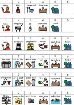 1 x 1 PECS Images for a visual schedule - PECS is a specific system for teaching language and communication, it is not just a visual support system using icons. Visual Timetable, Visual Schedules, Autism Teaching, Autism Classroom, Student Teaching, Classroom Ideas, Speech Language Therapy, Speech And Language, Pecs Communication