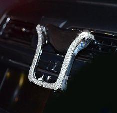 Bing Crystal Rhinestone Car Phone Holder - White