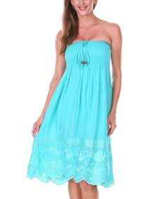 Look at this Ananda's Collection Aqua Rose Shirred Convertible Dress & Skirt on #zulily today!