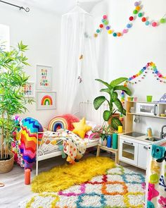 ***GIVEAWAY CLOSED*** I'm sure you have noticed how much I love kids decor and you might have also noticed my ever growing collection of… Kids Bedroom Designs, Kids Room Design, Rainbow Bedroom, Rainbow Room Kids, Rainbow Nursery, Bright Nursery, Rainbow House, Rainbow Wall, Toddler Rooms