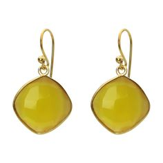 18k Gold Plated Sterling Silver Small Square Yellow Citrine Stone Earrings, 1.19""