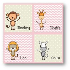 Cute Animals Monkey and Friends Pink | Mooshimoo