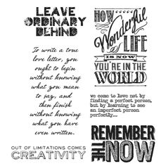 Tim Holtz Collection from Stamper Anonymous - Random Quotes CMS182 This collection contains individual Ezy mounted stamps designed by Tim Holtz They