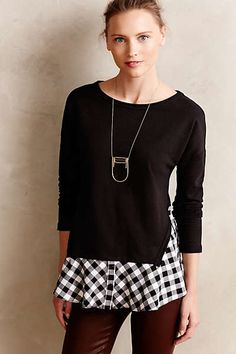 Anthropologie - Skirted Plaid Pullover