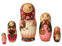 "Rooster Girl in Pink Nesting Doll 5pc./6"" by Golden Cockerel for 120$ similar to first nesting doll produced just in pink."