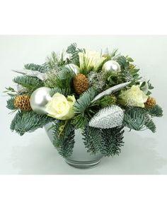 Kerstbiedermeier in de kleur zilver, wit kopen en laten bezorgen? Bestel nu.