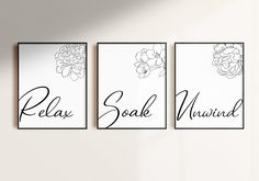Relax Soak Unwind   Bathroom Wall Decor & Bathroom Signs - Set of 3 Prints   You can use this bathroom wall art relax sign for stress relief by SmallMiraclePrints on Etsy
