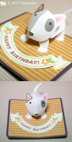 pop-up card【ブルテリア】- Bull Terrier - Fun Crafts, Diy And Crafts, Paper Crafts, Kirigami, Tarjetas Diy, Card Book, Pop Up Cards, Card Making Inspiration, Paper Toys