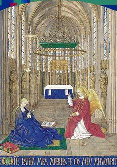 Jean Fouquet, Livre d'heures d'Étienne Chevalier, entre 1452 et 1460. Chantilly, musée Condé. L'Annonciation.