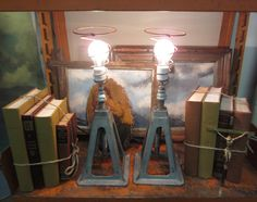 Pair of Industrial Jack Stand Lamps - Adjustable Height