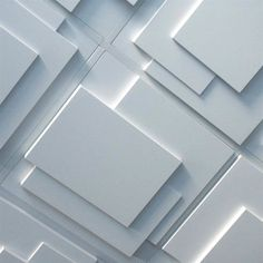 The overlapping rectangular planar design of this contemporary plaster ceiling tile recalls the work of Joseph Hoffman and early Cubist Architectural Styles. Contemporary Ceiling Tile, Contemporary Decorative Pillows, Contemporary Bedroom Furniture, Contemporary Interior, Interior Ceiling Design, Geometric Tiles, Ceiling Tiles, Commercial Interiors, Tile Design