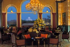 The Tea #Lounge at The #Oberoi #Amarvilas, #Agra, offers an easy ambience with breathtaking views of the Taj Mahal.