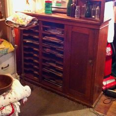 Antique mail sorter; use for sheet music storage