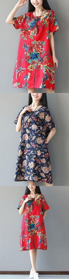 Vintage Dresses Macy 8217 S Fl Printed Plate Buckle Short Sleeve Women