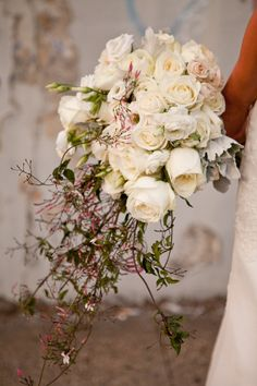 White cascading bridal bouquet from Celadon and Celery Wedding Themes, Wedding Designs, Wedding Events, Wedding Ideas, Wedding Decor, Rustic Wedding, Wedding Stuff, Weddings, Bridesmaid Bouquet