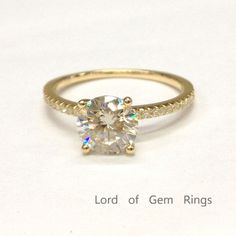Round Moissanite Engagement Ring Pave Diamond Wedding 14K Yellow Gold 7mm - Lord of Gem Rings - 1