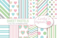 Pastel Digital Paper Pack, Digital scrapbook paper in: Triangles, Polka dots, Hearts, Stripes and chevron, Pastel Download, printables (12) Pastel digital paper patterns in 12 x 12 sheets for invites, scrapbooking, craft projects, stationary, websites and blogs, wallpaper, card making, wrapping paper, hang tags, decorations, decoupage, paper cards, home decorations, birthday invites, announcements baby showers and many more creative uses. What you get: Pastel digital paper