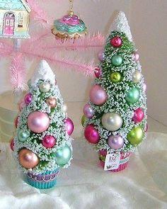 "Pastel 12"" Bottle Brush Christmas Trees ~Tabletop~French Candy~Raz ~3320017"