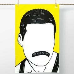 This awesome Freddie Mercury tea towel will definitely rock you! You be Queen of the kitchen with this fabulous cotton tea towel featuring a bold graphic illustration of rock god Freddie Mercury!100% cotton.Made and printed in the UK.Machine wash at 40C.Dimensions:74cm x 47cm with hanging loop at top corner