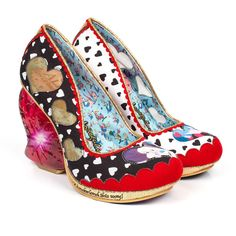 Irregular Choice Alice In Wonderland Queen Of Hearts Womens Heart High Heel Shoes - Black & White Heart Print Funky Shoes, Crazy Shoes, Me Too Shoes, Disney Films, Walt Disney, Alice In Wonderland Shoes, Queen Of Hearts Alice, Black And White Heart, Ideas
