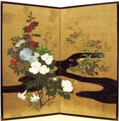 Sakai Hōitsu (1761-1828), 流水四季草花図屏風. Plants and flowers of the four seasons and flowing water. Right of a pair of two-panel folding screens. Japan. Edo period. Rinpa School. Tokyo National Museum