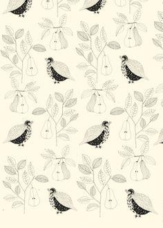 Partridges and pears. Katt Frank Illustration