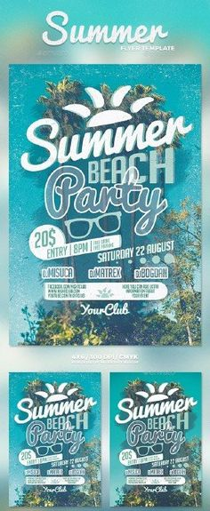 Pool Party Summer Time Flyer  Party Summer Flyer Template And