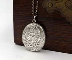 Silver Victorian Locket | Antique Engraved Sterling Silver Oval Photo Locket Pendant On A Chain by DaisysCabinet on Etsy