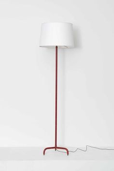 Jacques adnet tripod floor lamp simulated bamboo made by jacques adnet red leather floor lamp floor lamps collections magen h gallery aloadofball Images