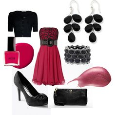 Hot Pink and Black, created by sarah-clague.polyvore.com