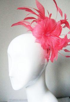 Fascinator Headpiece Wedding Kentucky Derby Ascot Melbourne Cup Race Days Hat MIllinery Bridal Event Fascinators Flamingo Feathers. $75.00, via Etsy.