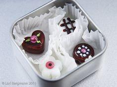 Handmade Lampwork Glass Chocolate Beads in a Tin by Lori Bergmann, jewelry supplies, SRA