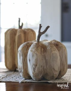 Carved Wood Pumpkins - Fall Home Decor Ideas