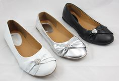 Kid Girl Ballet Flat Shoes Rhinestone Heart Black Silver White Size 9 - 4 NEW #Other #Flats