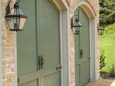 I love this look french country old stone brick trim for French country garage doors