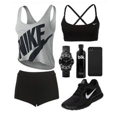 Perfect workout outfit with black spanks, shoes, and training bra, and grey and black nike shirt