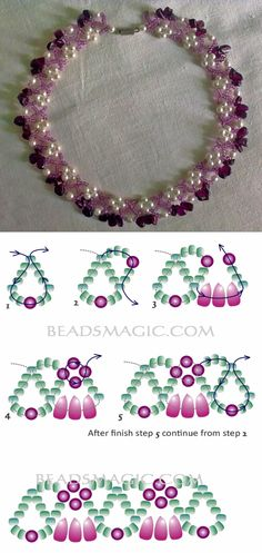 beaded necklace patterns Free pattern for beautiful beaded necklace Garnet Grove Diy Jewelry Necklace, Seed Bead Jewelry, Bead Jewellery, Jewelry Making Beads, Handmade Necklaces, Jewelry Crafts, Handmade Jewelry, Necklace Ideas, Beading Jewelry