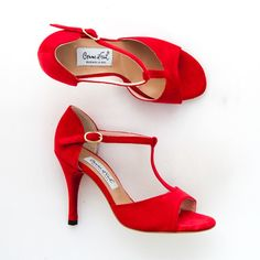 Comme il Faut Argentine Tango Dance Shoes - Terciopelo con Rojo Cont size 36 (US 6) heel 9cm