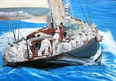 Η Χρύσα Δελλαπόρτα εκθέτει στο Ποσειδώνιο, στο πλαίσιο του Διεθνούς Αγώνα Κλασσικών Σκαφών Σπετσών J Class Yacht, Nautical Art, Figure Painting, Sailing Ships, Art Gallery, Portrait, Drawings, Figurative, Instagram