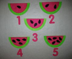 Felt Watermelon Seed Counting 1 through 5 Play Set Flannel Board Story via Etsy