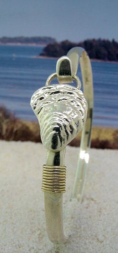 Oyster Shell Sterling Silver Hook Bracelet with Nautical Rope