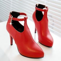 Alluring Red Weaving Design Stiletto Heel Ankle Boots