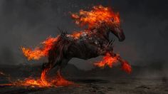 Ruin, the Fiery Horse of War   The Four Horsemen   Digital Painting   Artist: theDURRRRIAN