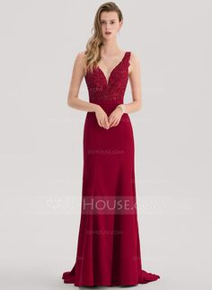 [US$ 133.69] Trumpet/Mermaid V-neck Sweep Train Satin Prom Dress With Beading