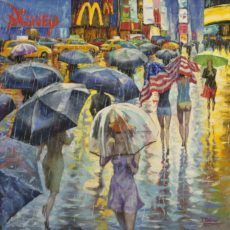 Love this oil painting from Ugallery. Under American Flag, Rainy New York Street by Stanislav Sidorov. Rain Painting, Street Painting, Woman Painting, Umbrella Art, Original Art For Sale, New York Street, American Flag, Bing Images, Art Pieces