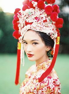 Stunning portrait of a bride in Qun Kua // Beautiful Traditions: A Styled Shoot at Emily Hill #chinese #weddingdress