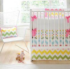 Rainbow Chevron Crib Bedding from @GreenPea Baby & Child  - #nursery #bedding #chevron