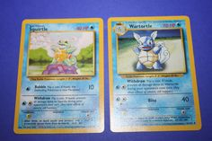 2 Pokemon Cards - Squirtle and Wartortle by LiveLoveCraftDesignz on Etsy Tiny Turtle, Pokemon Cards, Bubbles, Handmade, Stuff To Buy, Etsy, Hand Made, Pokemon Trading Card
