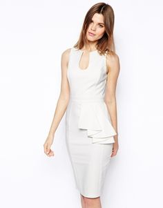 Image 1 of ASOS Pencil Dress With Asymmetric Peplum